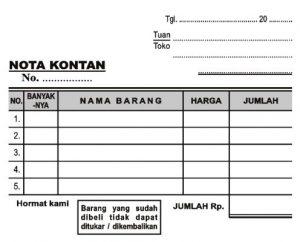 Print Nota Kosong